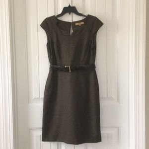 Brown business dress with cardigan